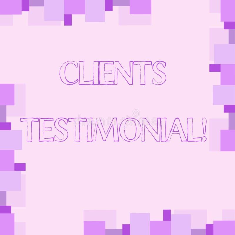 Handschriftstextschreiben Kunden-Referenz Das Konzept, das Kunden-persönliche Erfahrungen bedeutet, wiederholt Meinungs-Feedback stock abbildung