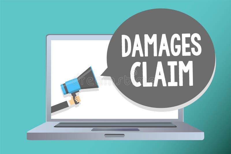 Handschriftstextschreiben Schadenersatzforderung Konzeptbedeutung Nachfrage-Ausgleich streiten den Versicherungs-Datei-Klagen-Man stock abbildung