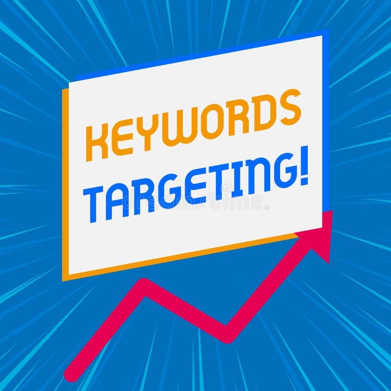 Handschriftstextschreiben Schl?sselwort-Anvisieren Konzeptbedeutung Gebrauchs-relevante W?rter, zum in den Suchmaschinen hoch zu  stock abbildung