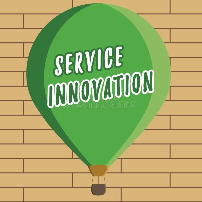 Handschriftstextschreiben Service-Innovation Konzept-stellen Bedeutung verbesserte Produktserie Dienstleistungen bevorstehende Te stock abbildung