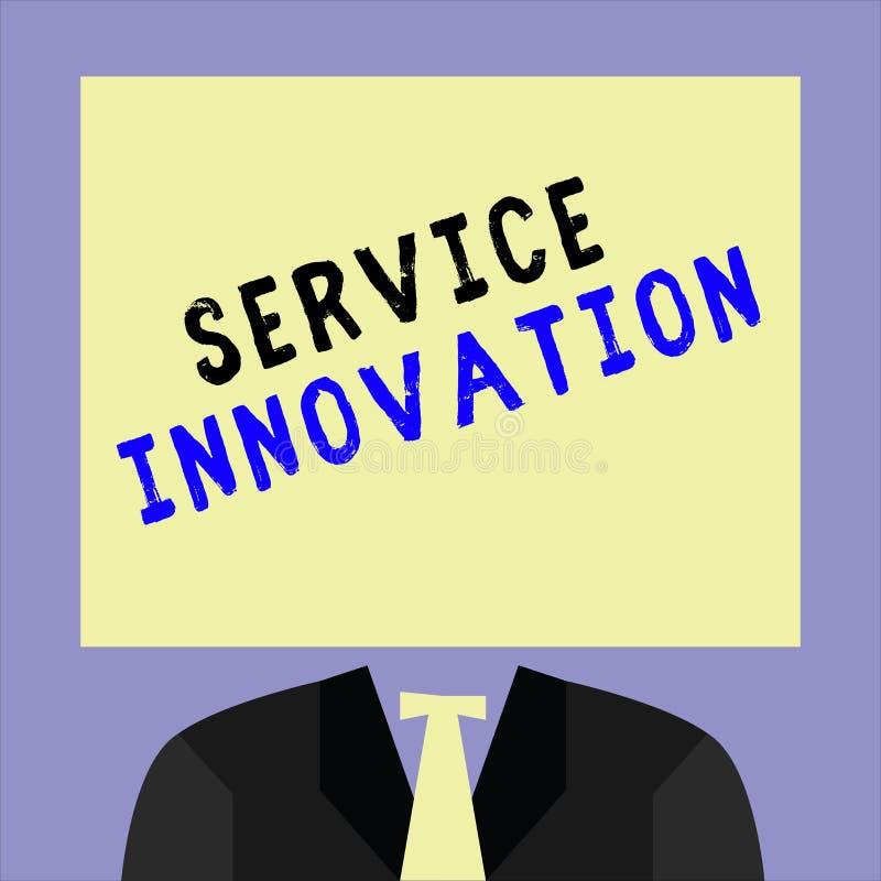 Handschriftstextschreiben Service-Innovation Konzept-stellen Bedeutung verbesserte Produktserie Dienstleistungen bevorstehende Te lizenzfreie abbildung
