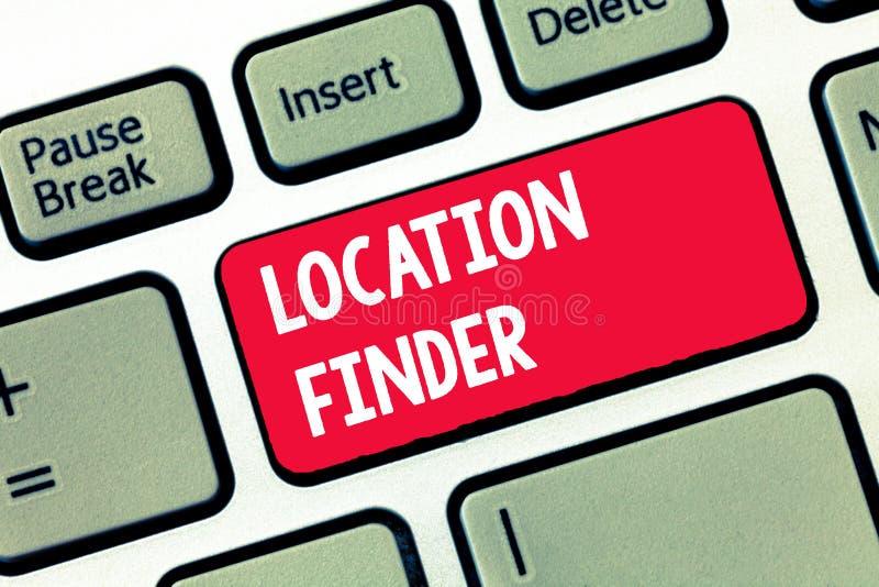 Handschriftstextschreiben Standort-Sucher Konzept, das a-Service gekennzeichnet, um die Adresse eines vorgewählten Platzes zu fin stockbilder