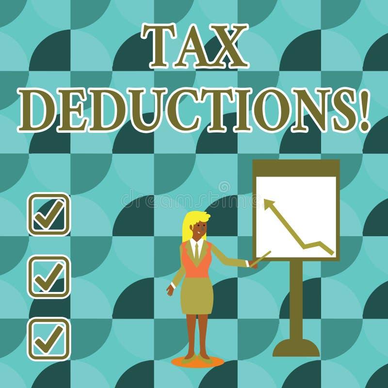 Handschriftstextschreiben Steuerabzüge Konzept, das Reduzierungseinkommen bedeutet, das ist, von den Ausgaben besteuert zu werden vektor abbildung