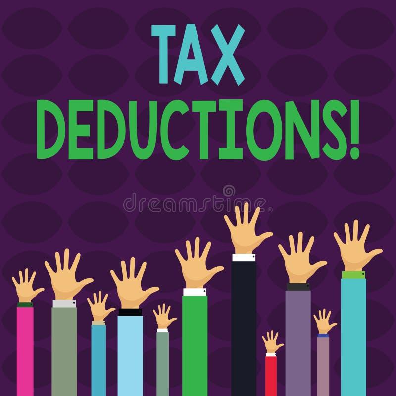 Handschriftstextschreiben Steuerabz?ge Konzept, das Reduzierungseinkommen bedeutet, deren in der Lage ist, besteuert zu werden vo vektor abbildung