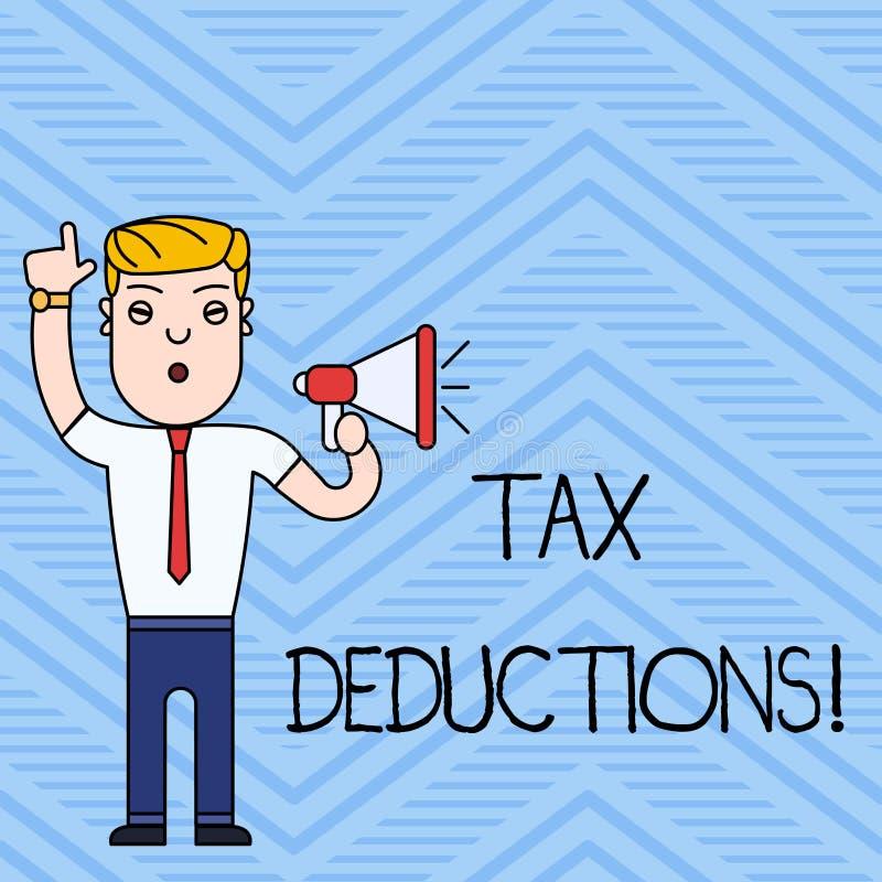 Handschriftstextschreiben Steuerabz?ge Konzept, das Reduzierungseinkommen bedeutet, das ist, von den Ausgaben besteuert zu werden stock abbildung