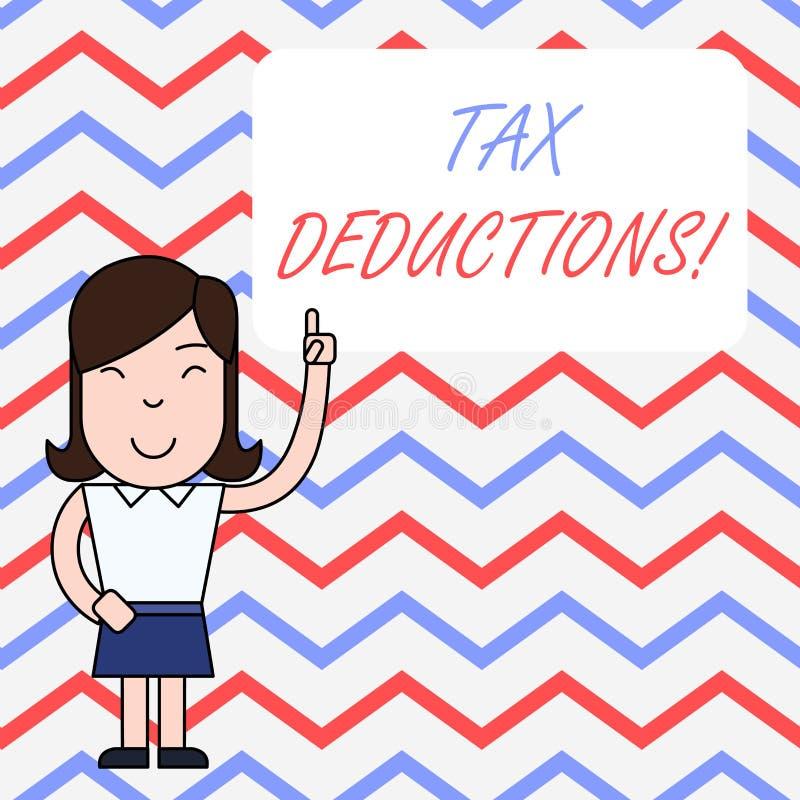 Handschriftstextschreiben Steuerabz?ge Konzept, das Reduzierungseinkommen bedeutet, das ist, von den Ausgaben besteuert zu werden vektor abbildung