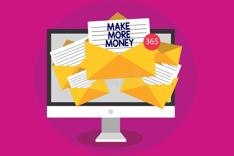 Handschriftstextschreiben verdienen mehr Geld Konzeptbedeutung Zunahme Ihr Einkommensgehaltsnutzen bearbeiten härteres Ehrgeiz-Co lizenzfreie abbildung