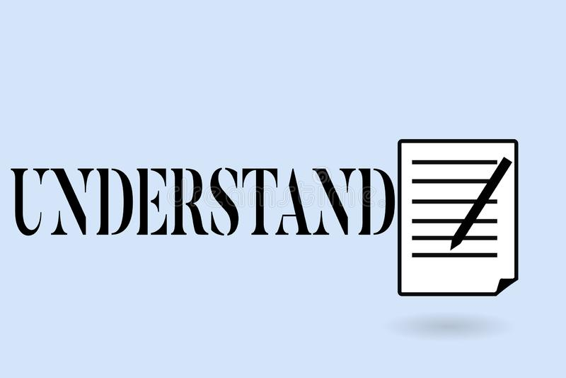 Handschriftstextschreiben verstehen Konzeptbedeutung empfinden die beabsichtigte Bedeutung von etwas interpretieren Ansicht lizenzfreie abbildung