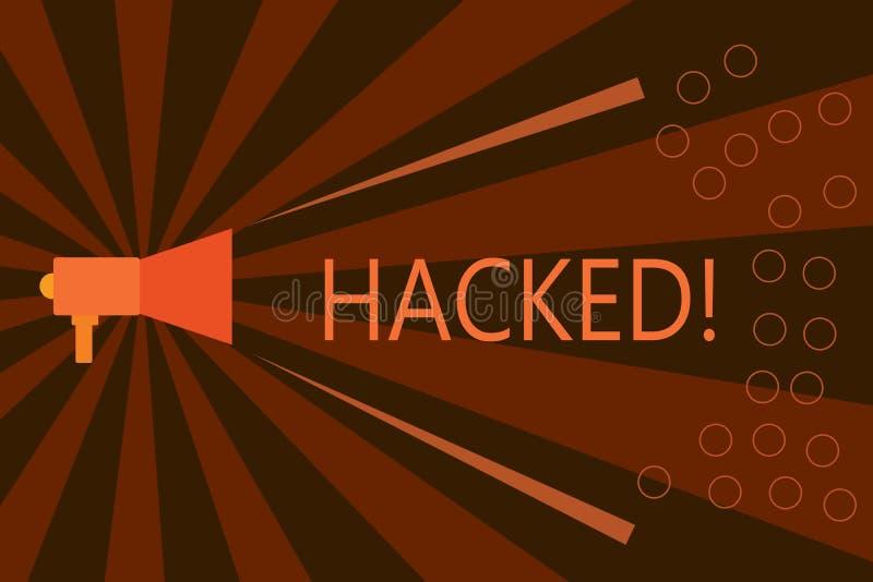 Handschriftstextschreiben zerhackt Konzeptbedeutung Gewinnunberechtigter zugriff zu den Daten System oder Computer im Cyberverbre stock abbildung