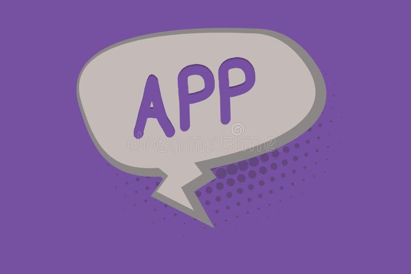 Handschrifttekst App Concept die de software van de computerprogrammadownload door een gebruiker betekenen aan een mobiel apparaa royalty-vrije illustratie