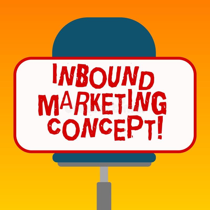 Handschrifttekst Binnenkomend Marketing Concept Concept die strategie betekenen die zich bij het aantrekken van klanten Lege Rech stock illustratie