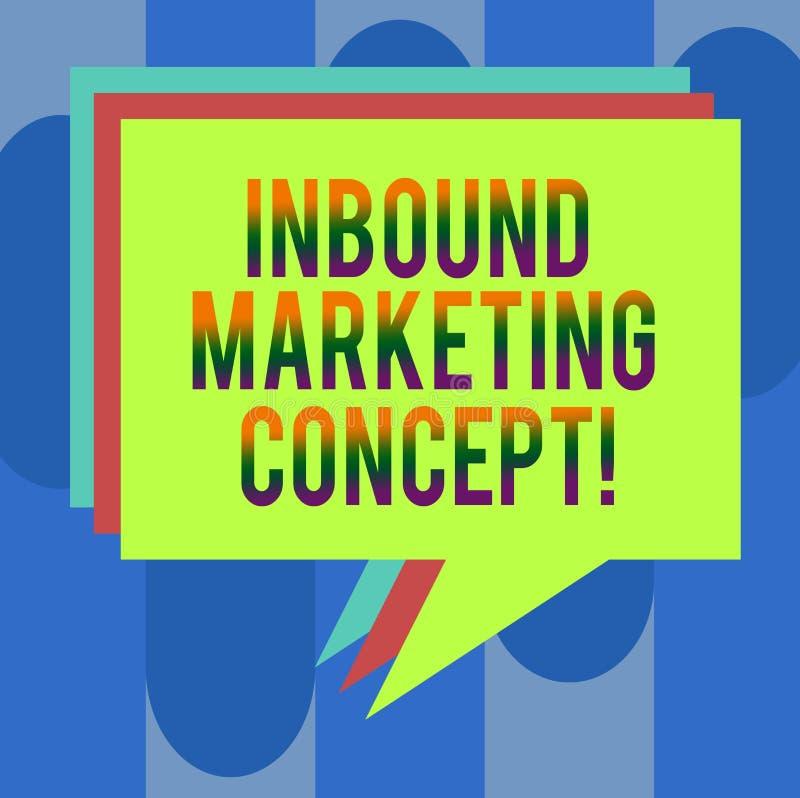 Handschrifttekst Binnenkomend Marketing Concept Concept die strategie betekenen die zich bij het aantrekken van klantenstapel van vector illustratie