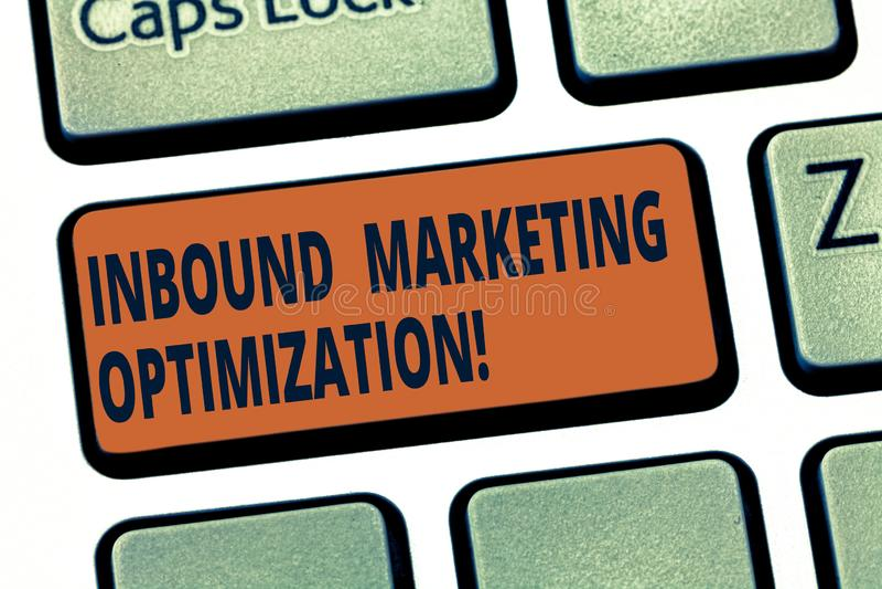 Handschrifttekst Binnenkomende Marketing Optimalisering Concept die proces om de aandacht van vooruitzichtentoetsenbord te trekke royalty-vrije illustratie