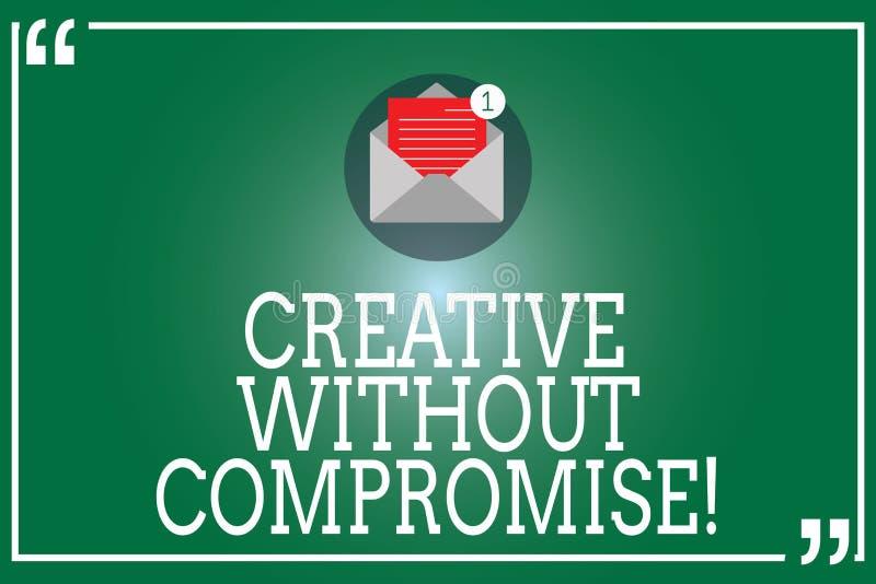 Handschrifttekst Creatief zonder Compromis Concept die een maatregel van goodwill en weinig originaliteits Open Envelop betekenen stock illustratie