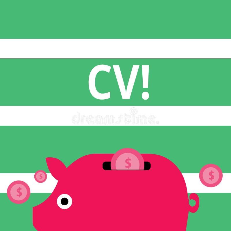 Handschrifttekst Cv Het concept die Curriculum vitae betekenen hervat Infographics-Baan Zoekend Kleurrijke Werknemersrekrutering vector illustratie