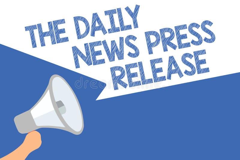 Handschrifttekst de Dagelijkse NieuwsPersmededeling Het concept die aankondigend groot nieuws of spreekt aan de luidsprekerstoesp royalty-vrije stock fotografie