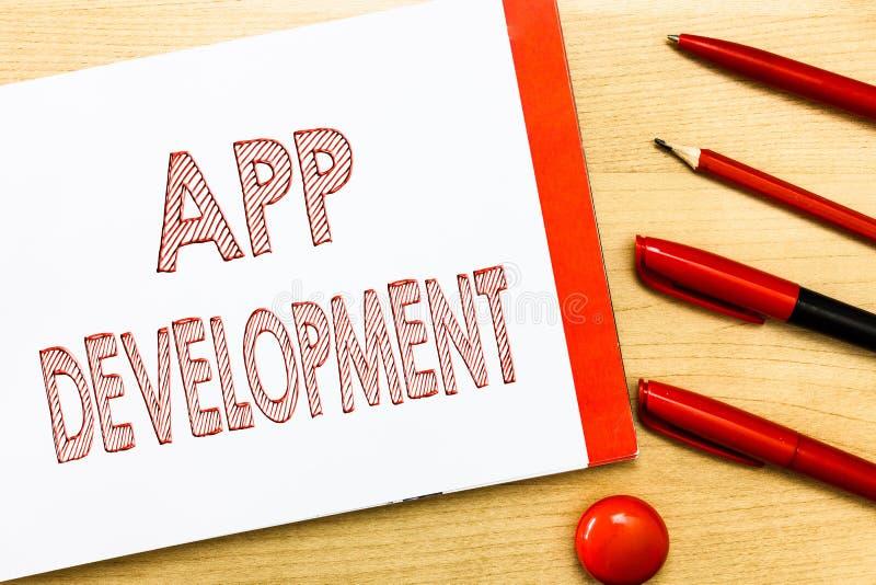 Handschrifttekst die App Ontwikkeling schrijven Concept die de Ontwikkelingsdiensten voor ontzagwekkende mobiele en Webervaringen stock illustratie