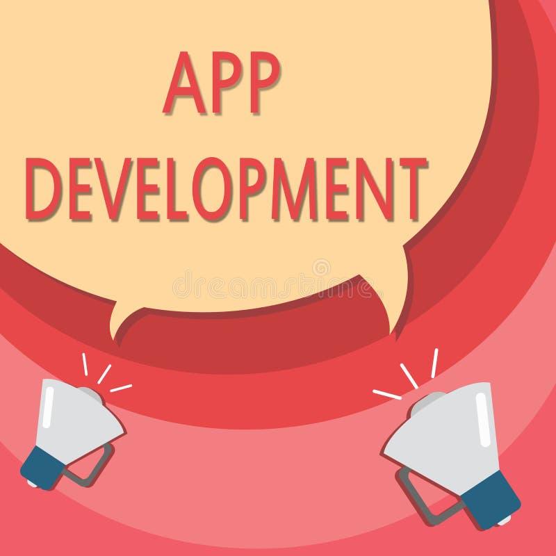 Handschrifttekst die App Ontwikkeling schrijven Concept die de Ontwikkelingsdiensten voor ontzagwekkende mobiele en Webervaringen royalty-vrije illustratie