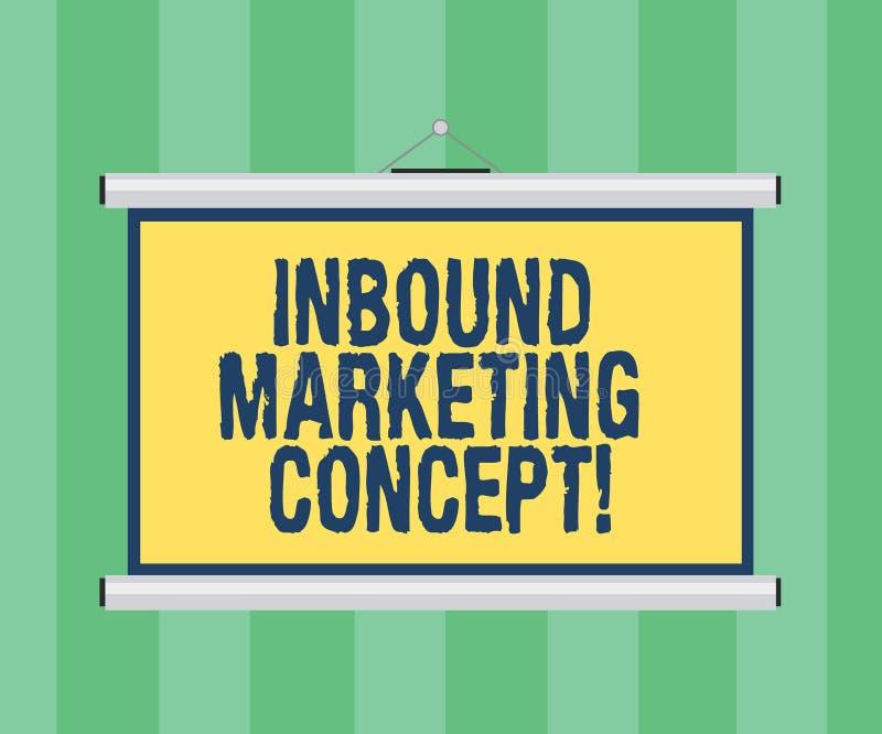 Handschrifttekst die Binnenkomend Marketing Concept schrijven Concept die strategie betekenen die zich bij het aantrekken van Dra stock illustratie