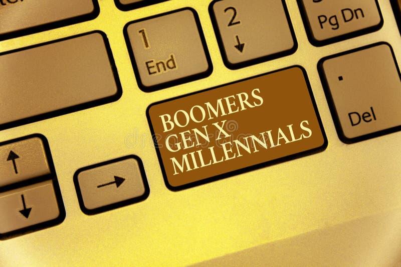 Handschrifttekst die Boomers Gen X Millennials schrijven Concept het betekenen dacht over het algemeen na om ongeveer dertig jaar royalty-vrije stock foto's