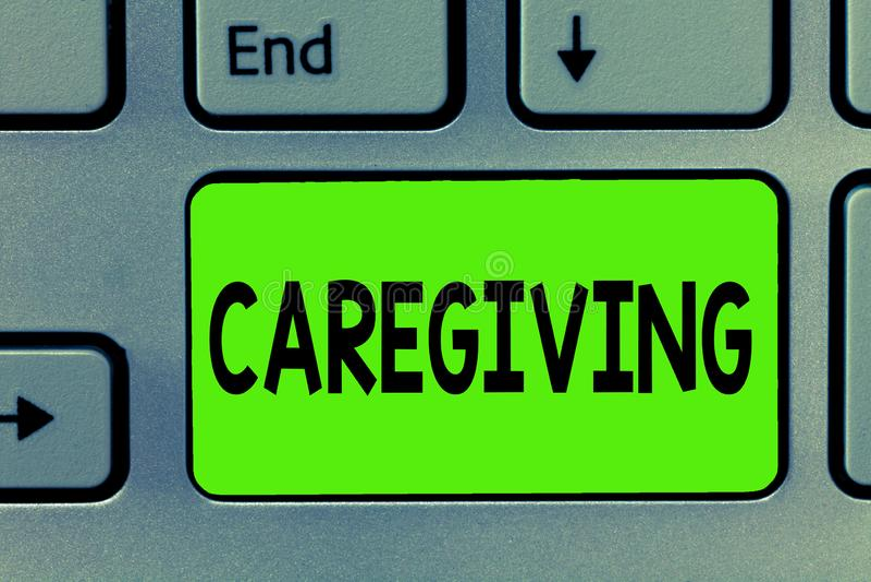Handschrifttekst die Caregiving schrijven Concept die Akte van het verstrekken van de onbetaalde van de de hulpsteun van de hulph stock afbeelding
