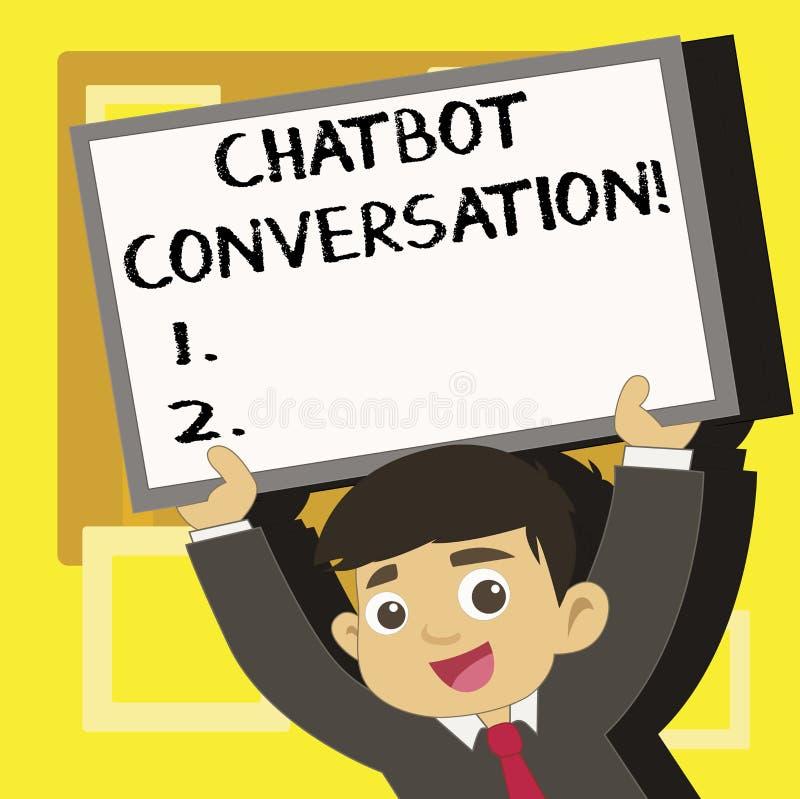 Handschrifttekst die Chatbot-Gesprek schrijven Concept betekenen die met virtuele hulpkunstmatige intelligentie babbelen royalty-vrije illustratie