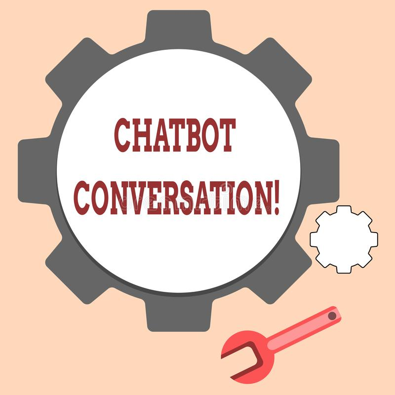 Handschrifttekst die Chatbot-Gesprek schrijven Concept betekenen die met virtuele hulpkunstmatige intelligentie babbelen stock illustratie