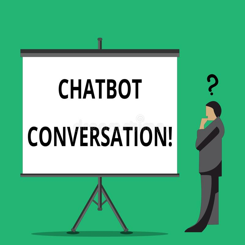 Handschrifttekst die Chatbot-Gesprek schrijven Concept betekenen die met virtuele hulpkunstmatige intelligentie babbelen vector illustratie