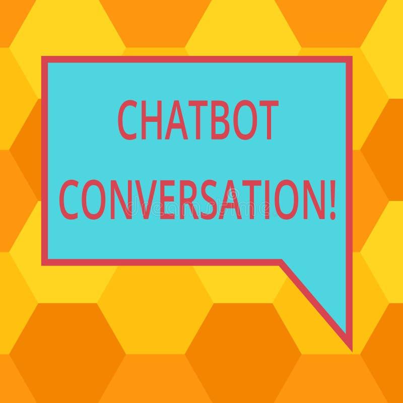 Handschrifttekst die Chatbot-Gesprek schrijven Concept betekenen die met virtuele hulpkunstmatige intelligentiespatie babbelen stock illustratie