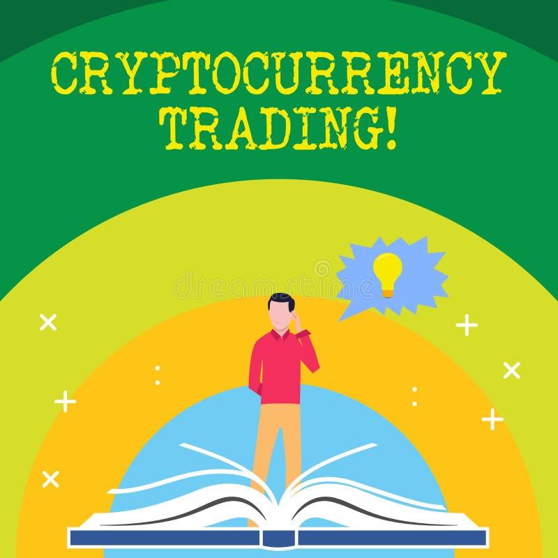 Handschrifttekst die Cryptocurrency-Handel schrijven Concept die eenvoudig de uitwisseling van cryptocurrencies in de markt betek royalty-vrije illustratie