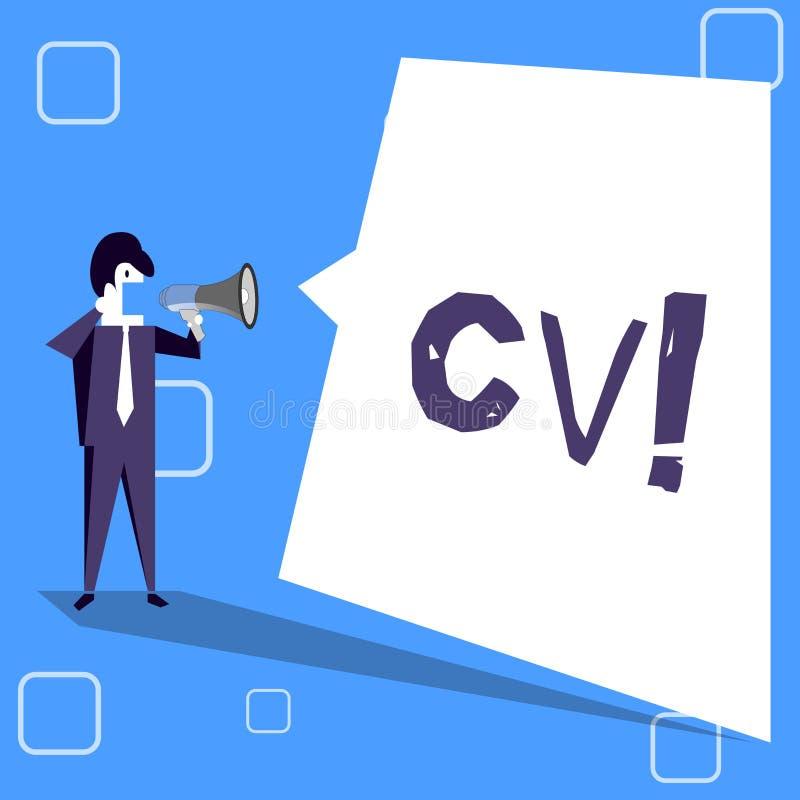 Handschrifttekst die Cv schrijven Het concept die Curriculum vitae betekenen hervat Infographics-Baan Zoekend Werknemersrekruteri stock illustratie