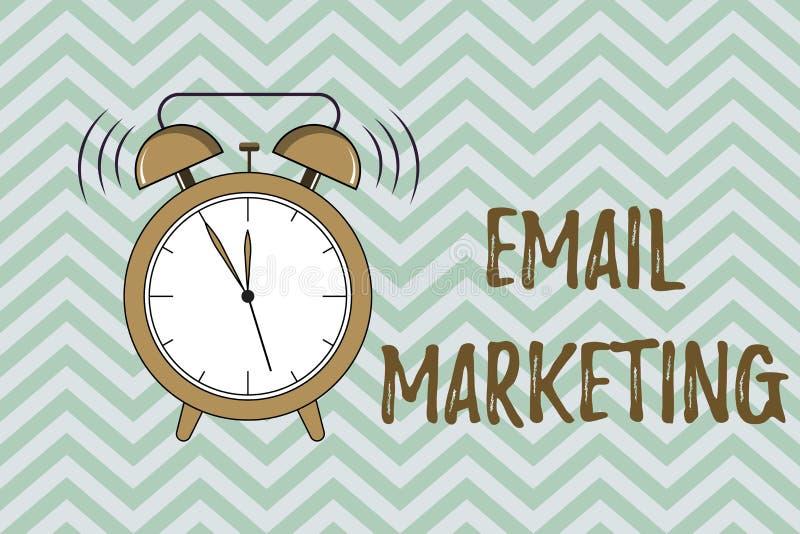 Handschrifttekst die E-mail Marketing schrijven Concept die Verzendend een commercieel bericht naar een groep die mensen post geb stock illustratie