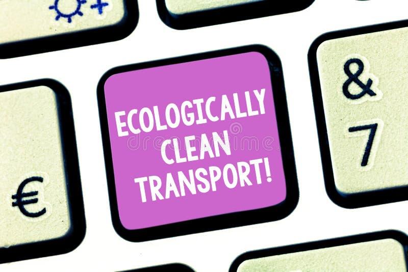 Handschrifttekst die ecologisch Schone Vervoer schrijven Concept die Groen voertuig Milieuvriendelijk voertuig betekenen royalty-vrije stock afbeelding