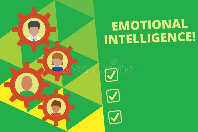 Handschrifttekst die Emotionele Intelligentie schrijven Concept die de Zelf en Sociale verhoudingen van het Voorlichtingshandvat  royalty-vrije illustratie