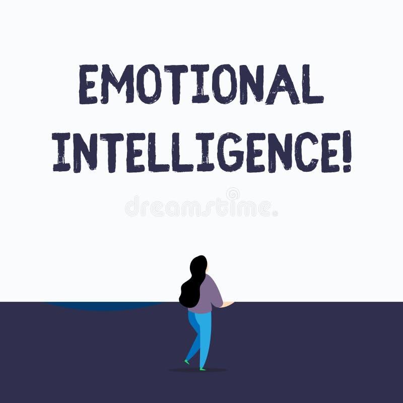 Handschrifttekst die Emotionele Intelligentie schrijven Concept die de Zelf en Sociale verhoudingen van het Voorlichtingshandvat  stock illustratie