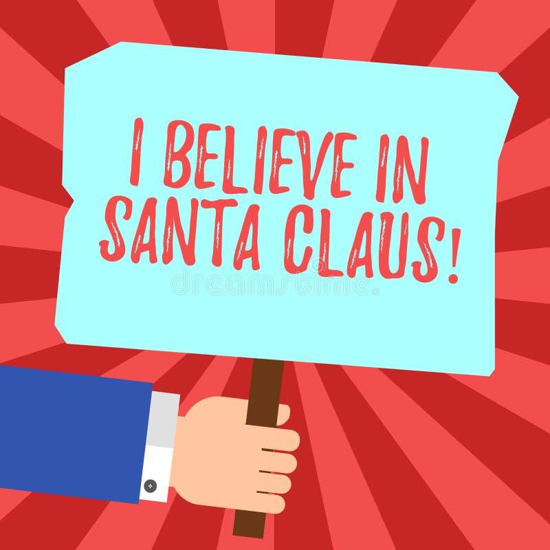 Handschrifttekst die ik in Santa Claus heb geloofd Conceptenbetekenis om geloof in van de kinderjarenhu van de Kerstmisvakantie t royalty-vrije stock afbeelding