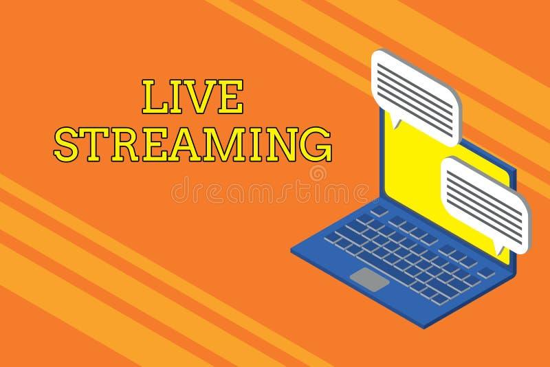 Handschrifttekst die Live Streaming schrijven De conceptenbetekenis brengt levende videodekking van een gebeurtenis over Internet stock illustratie