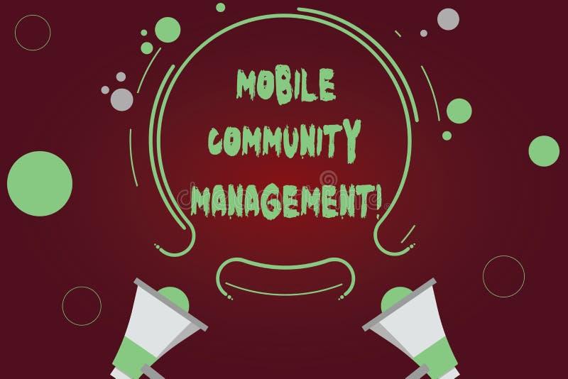 Handschrifttekst die Mobiel Communautair Beheer schrijven Concept die bouwend verhoudingen met online gemeenschap Twee betekenen vector illustratie