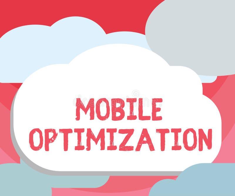Handschrifttekst die Mobiele Optimalisering schrijven Concept die die Plaatsinhoud betekenen voor Handbediende of Tabletapparaten vector illustratie