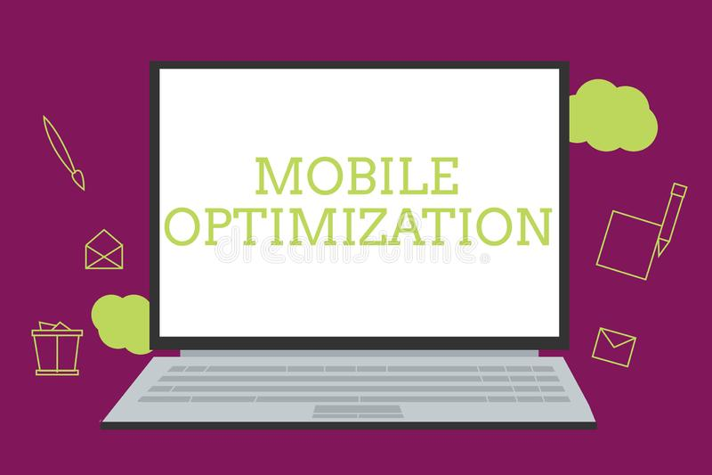 Handschrifttekst die Mobiele Optimalisering schrijven Concept die die Plaatsinhoud betekenen voor Handbediende of Tabletapparaten royalty-vrije illustratie
