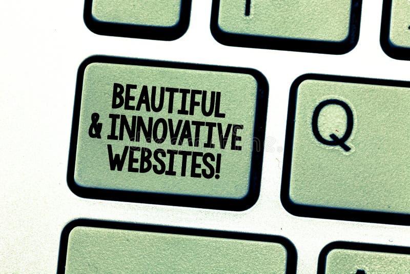 Handschrifttekst die Mooie en Innovatieve Websites schrijven E royalty-vrije stock fotografie