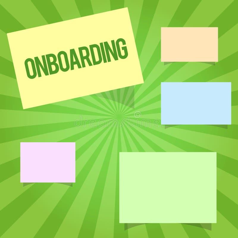 Handschrifttekst die Onboarding schrijven Concept die Actieproces om een nieuwe werknemer in een organisatie betekenen te integre vector illustratie