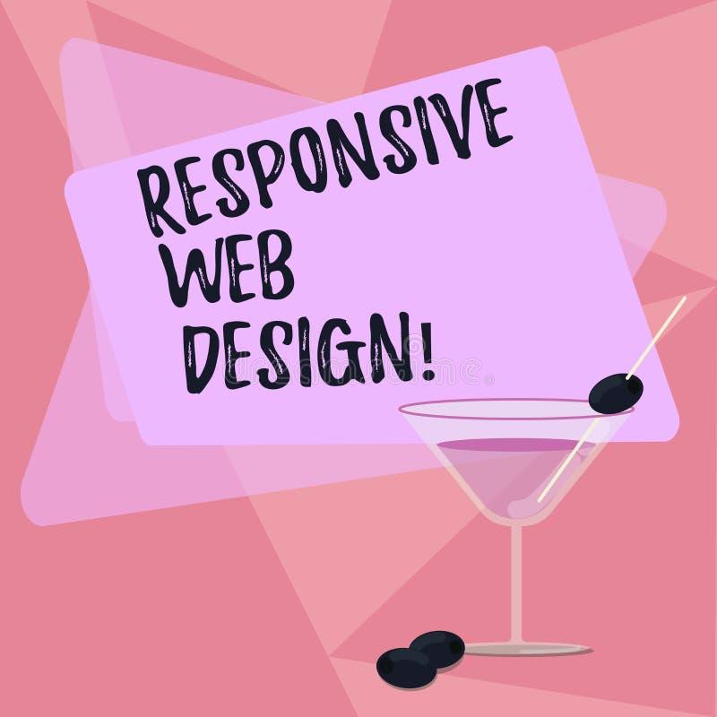 Handschrifttekst die Ontvankelijk Webontwerp schrijven Concept die webpaginaverwezenlijking betekenen die van flexibele lay-outs  royalty-vrije illustratie