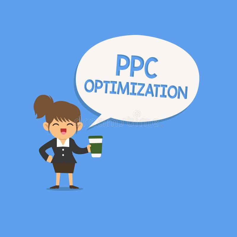 Handschrifttekst die Ppc Optimalisering schrijven Concept die Verhoging van zoekmachineplatform betekenen voor loon per klik stock illustratie