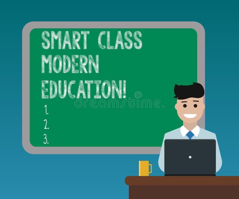 Handschrifttekst die Slimme Klasse Modern Onderwijs schrijven Concept die Bijgewerkte technologische klaslokalen betekenen die Ge royalty-vrije stock afbeeldingen