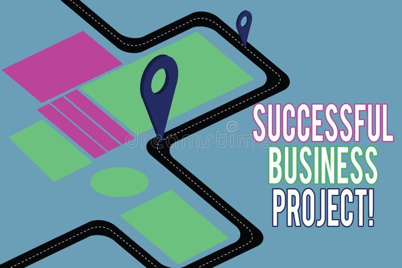 Handschrifttekst die Succesvol Zakelijk project schrijven Concept die Bereikend projectdoelen binnen programmaWegenkaart betekene vector illustratie
