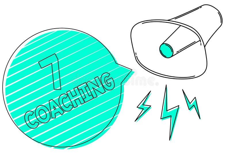 Handschrifttekst 7 die trainen De conceptenbetekenis verwijst naar een aantal cijfers betreffende zaken om succesvolle Megafoon t royalty-vrije illustratie