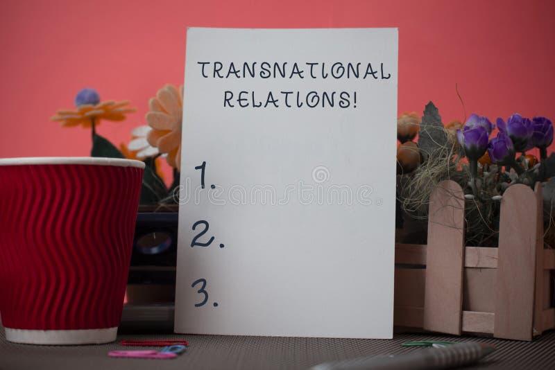 Handschrifttekst die Transnationale Relaties schrijven Concept die de Internationale Globale Diplomatie van de Politiekverhouding royalty-vrije stock fotografie