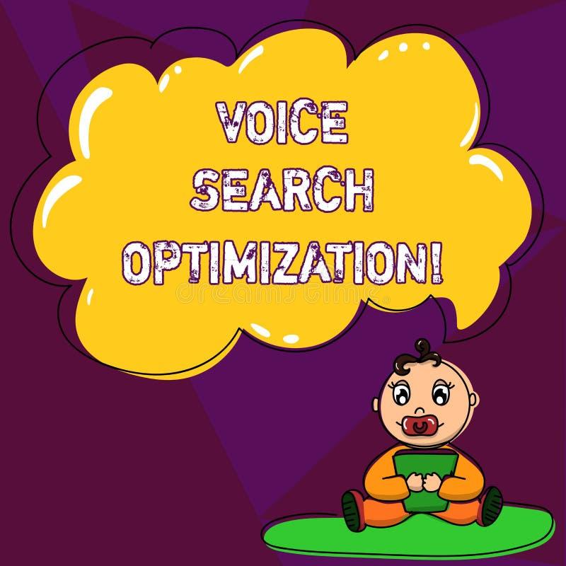 Handschrifttekst die Voice Search-Optimalisering schrijven De conceptenbetekenis verbetert Web zoekend door gesproken comanalysis stock illustratie