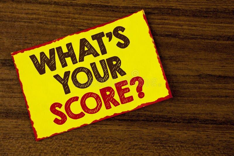 Handschrifttekst die wat schrijven Uw Scorevraag is De conceptenbetekenis vertelt Persoonlijke Individuele Classificatie Gemiddel royalty-vrije stock afbeelding